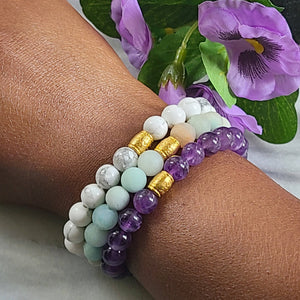 Set of Three Gemstone Bracelet Set | Howlite, Amethyst, Matte Amazonite Gemstone Jewelry Alora Boutique