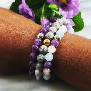 Set of Three Gemstone Bracelets | Grey Jasper, Mixed Quartz, Amethyst Gemstone Jewelry Alora Boutique