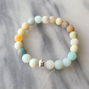 Matte Amazonite Gemstone Bracelet | Courage, Compassion, Prosperity Bracelets Alora Boutique Silver