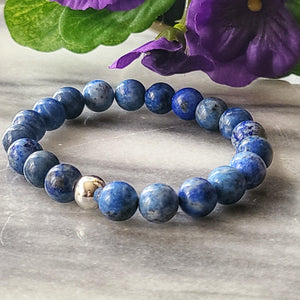 Wisdom, Truth, Self-awareness | Beaded Stretch Bracelet | Lapis Lazuli Gemstone Bracelets Alora Boutique Silver