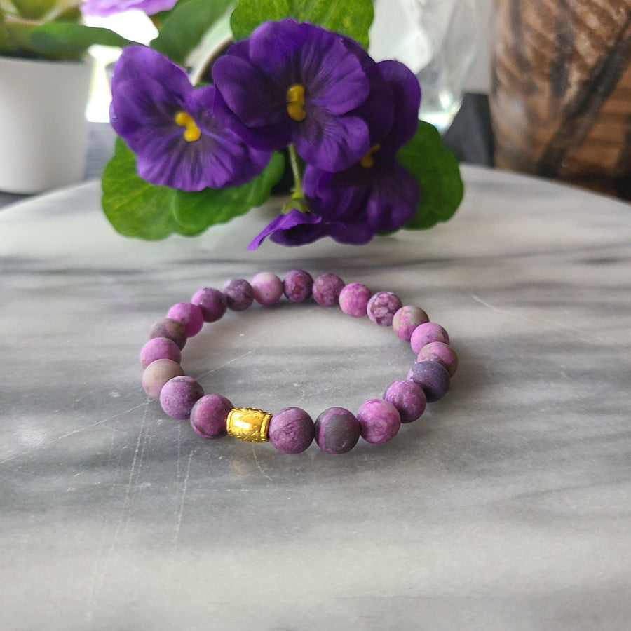Awareness, Honesty, and Inspiration | Beaded Stretch Bracelet | Matte Amethyst Gemstone Bracelet Alora Boutique Gold