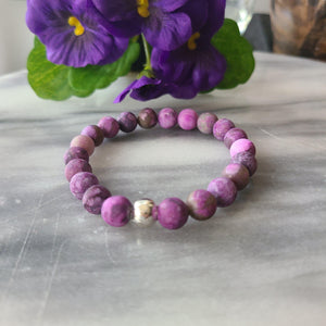 Awareness, Honesty, and Inspiration | Beaded Stretch Bracelet | Matte Amethyst Gemstone Bracelet Alora Boutique Silver