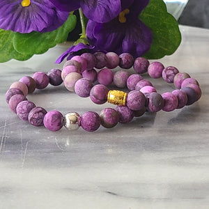 Awareness, Honesty, and Inspiration | Beaded Stretch Bracelet | Matte Amethyst Gemstone Bracelet Alora Boutique