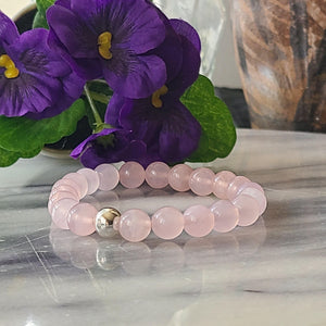 Rose Quartz Gemstone Bracelet | Unconditional love, Self-love, and Kindness Bracelets Alora Boutique