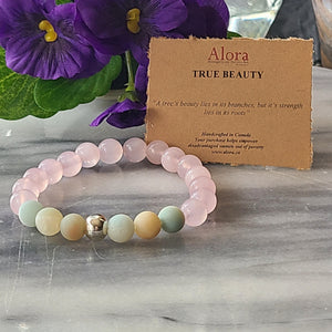 Laura - True Beauty Amazonite Rose Quarts Gemstone Bracelet Bracelets Alora Boutique