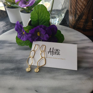 Ava Statement Geometric Stud Earrings Earrings Alora Boutique