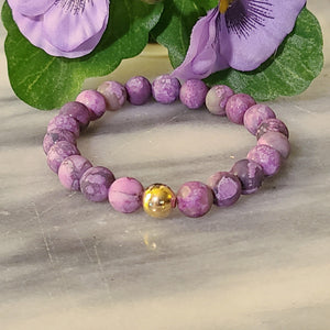 Awareness, Honesty, and Inspiration | Beaded Stretch Bracelet | Matte Amethyst Gemstone - Alora Boutique