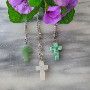 Natural Stone Cross Necklace - Alora Boutique