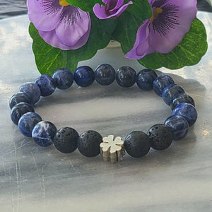 Lapis Lazuli Lava Gemstone | Men's Beaded Stretch Bracelet