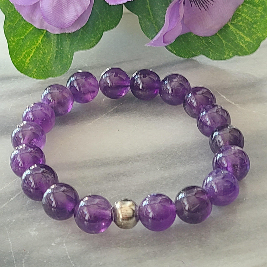Awareness, Honesty and Inspiration | Men's Beaded Stretch Bracelet | Amethyst Gemstone - Alora Boutique