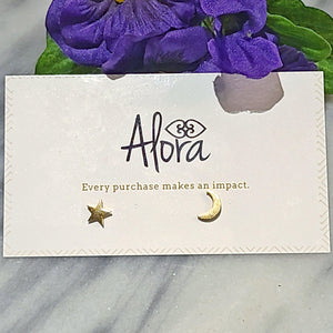 Luna Star and Moon Stud Earrings