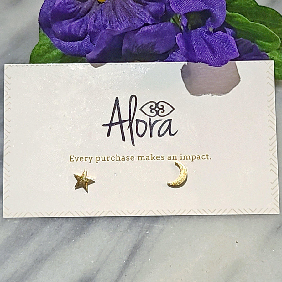 Luna Star and Moon Stud Earrings - Alora Boutique