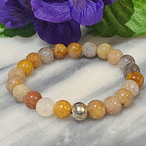 Peace, Serenity, Intuition | Beaded Stretch Bracelet | Multi-Colored Jade Gemstone - Alora Boutique