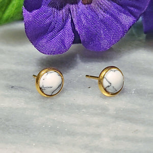 Gemstone Stud Earrings | Howlite Gemstone - Alora Boutique