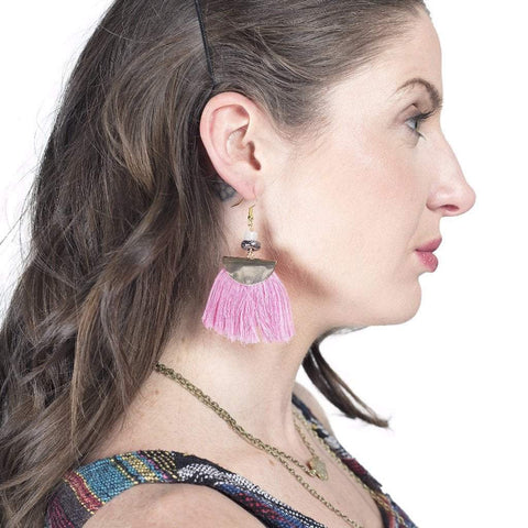 Shannon | Fan Fringe Earrings | Pink - Alora Boutique