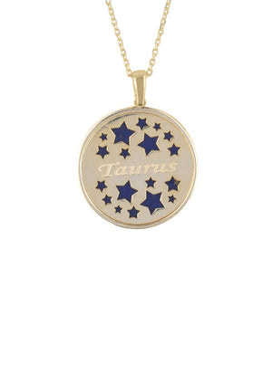 Zodiac Lapis Lazuli Gemstone Star Constellation Pendant Necklace Gold Taurus