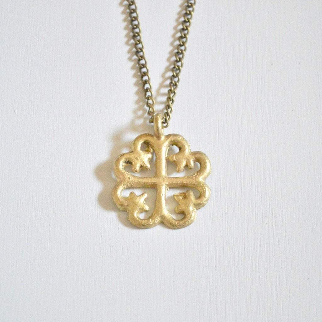 "Nyame Dua ""alter of god"" Adinkra Symbol Brass Necklace - Alora Boutique  - 2"