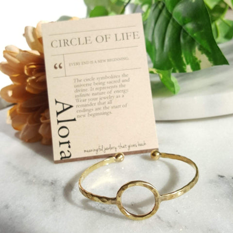 Circle of Life | Open Sphere Bracelet | Raw Brass - Alora Boutique