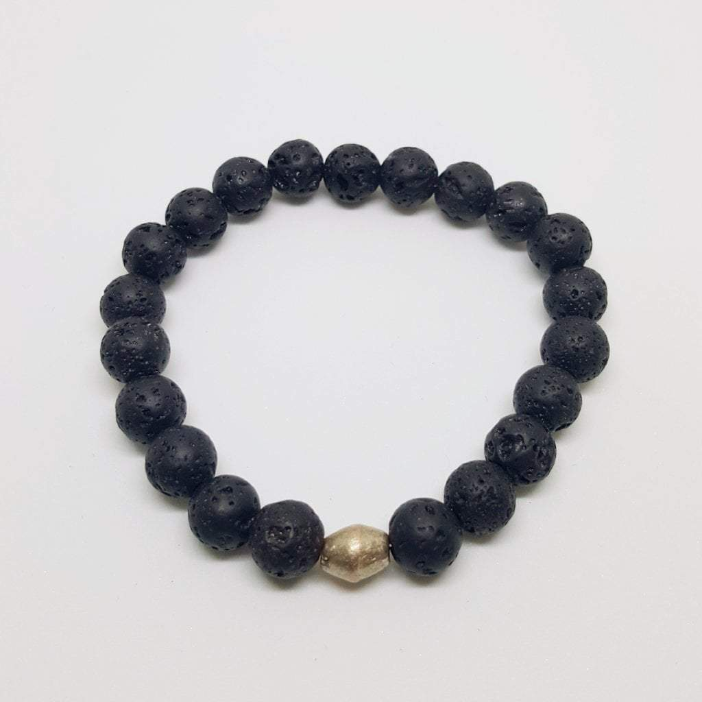 Protection, Strength, and Stability | Beaded Stretch Bracelet | Lava Gemstone