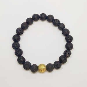 Lava Gemstone Bracelet | Protection, Strength, and Stability Bracelets Alora Boutique Brass