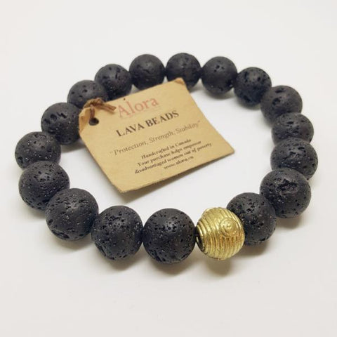 Protection, Strength, and Stability | Men's Beaded Stretch Bracelet | Lava Gemstone