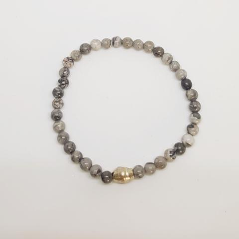 Gentleness, Comfort and Relaxation | Delicate Beaded Stretch Bracelet | Grey Jasper Gemstone