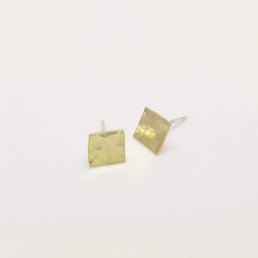 Your Shine is One of A Kind | Square Stud Earrings | Hammered Brass