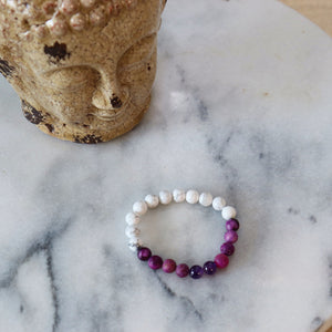 Double Meaning | Beaded Stretch Bracelet | Amethyst-Howlite Gemstone - Alora Boutique