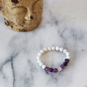 Double Meaning | Beaded Stretch Bracelet | Amethyst-Howlite Gemstone