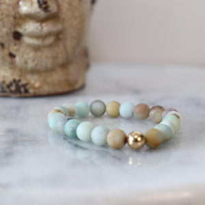 Matte Amazonite Gemstone Bracelet | Courage, Compassion, Prosperity Bracelets Alora Boutique Gold