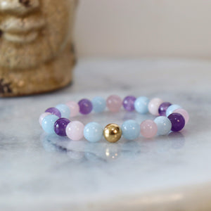 Creativity, Harmony, and Discovery | Beaded Stretch Bracelet | Mixed Quartz Gemstone