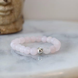 Rose Quartz Gemstone Bracelet | Unconditional love, Self-love, and Kindness Bracelets Alora Boutique Solid Silver