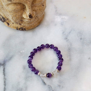 Awareness, Honesty and Inspiration | Beaded Stretch Bracelet | Amethyst Gemstone Bracelets Alora Boutique Clear Quartz - Solid Silver