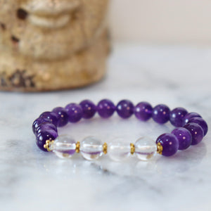 Awareness, Honesty and Inspiration | Beaded Stretch Bracelet | Amethyst Gemstone Bracelets Alora Boutique Clear Quartz - Gold