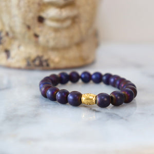 Hematite/Aventurine Bracelets (Assortment) - Calm and Discipline Bracelets Alora Boutique Purple Hematite - Solid Gold