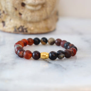 Hematite/Aventurine Bracelets (Assortment) - Calm and Discipline Bracelets Alora Boutique Red/Brown Aventurine - Gold (2 Styles)