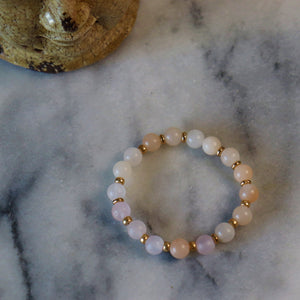 Calm and Discipline | Beaded Stretch Bracelet | Pink Aventurine