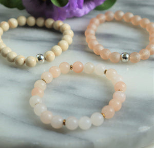 Pink Aventurine, Agatised Wood, True Beauty Sparkly | Beaded Stretch Bracelets | Set of Three Bracelets - Alora Boutique