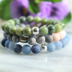 Taiwan Jade, Matte Blue Aventurine, Pink Zebra Jasper | Beaded Stretch Bracelets | Set of Three Bracelets - Alora Boutique