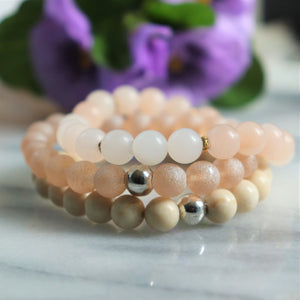 Set of Three Gemstone Bracelets | Pink Aventurine, Agatised Wood, True Beauty Sparkly Gemstone Jewelry Alora Boutique