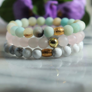 Set of Three Gemstone Bracelet Set | Howlite, Matte Amazonite, Rose Quartz Gemstone Jewelry Alora Boutique