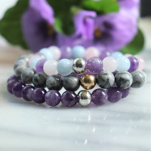 Grey Jasper, Mixed Quartz, Amethyst | Beaded Stretch Bracelets | Set of Three Bracelets - Alora Boutique
