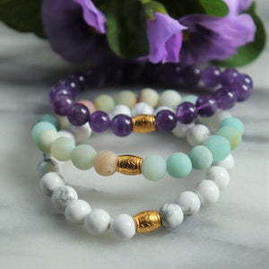 Howlite, Amethyst, Matte Amazonite | Beaded Stretch Bracelets | Set of Three Bracelets - Alora Boutique