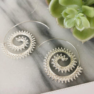 Karina Sprial Earrings Earrings Alora Boutique Ornate Spiral (Silver)