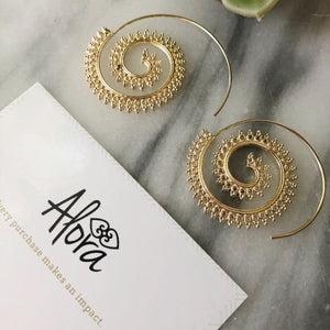 Karina Sprial Earrings Earrings Alora Boutique Ornate Spiral (Gold)