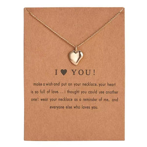 Meaningful Jewelry Gifts - Necklaces with Meaning Cards (Multiple Variants) Necklaces Alora Boutique I ❤️ You!