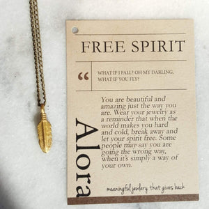 Free Spirit | Feather Pendant Necklace | Recycled Brass Necklaces Alora Boutique