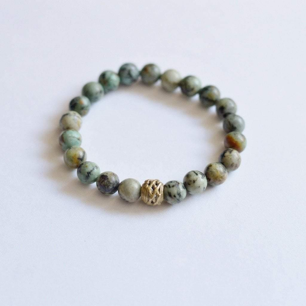 African Turquoise Gemstone Stretch Bracelet - Alora Boutique  - 1