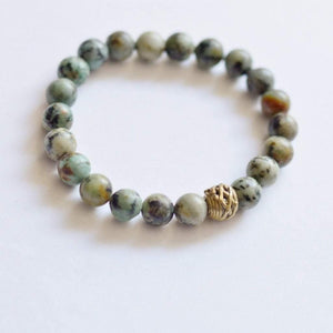 African Turquoise Gemstone Bracelet | Growth, Awareness, and Positivity Bracelets Alora Boutique Brass