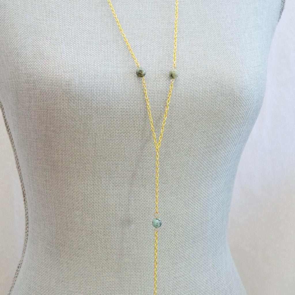 Lariat Necklace African Turquoise Gemstone - Growth, Awareness, Positivity - Alora Boutique  - 1